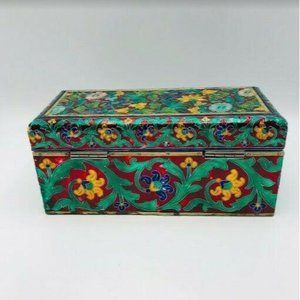 Inlay Floral Metal Jewelry Organizer Box Metallic